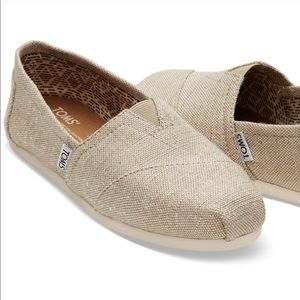Toms Sparkly Natural Metallic Beige Slip Ons
